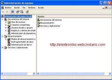 Descripción: Menús ocultos del sistema operativo Windows XP